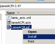 Lame MP3 ACM  MP3 encoder installation