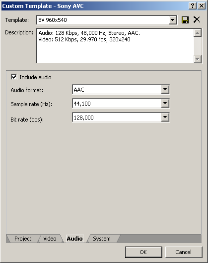 Sony AVC Audio settings