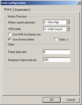 Xvid Motion settings